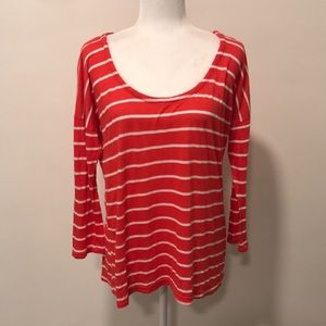 SPLENDID - RED AND WHITE STRIPED LONG SLEEVE TOP